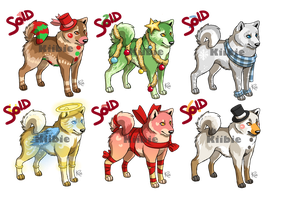Shiba Inu Christmas pack 2 adoptables -CLOSED- by Kiibie-Adopt