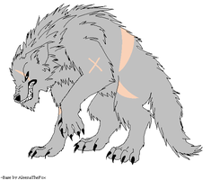 WereWolf OC Full WereWolf form by RaindropLily