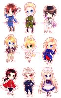 Hetalia Chibi Set by kyaptain