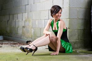 Green Latex and Black Corset by gstqfashions
