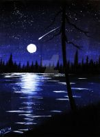 Moon on the lake study by jadelizabeth