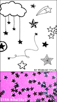 star brushes by rainbows-stock