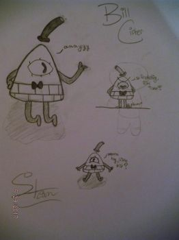 Bill Cipher Sketches by SteamTheSandwing
