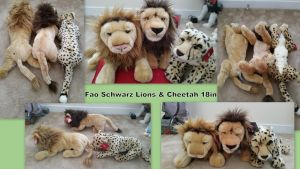 Fao Schwarz Lions and Cheetah 18in by Vesperwolfy87