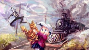 Mime vs. Train concept illustration by ukalayla