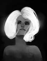 white haired value sketch by illictic