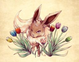 Seasons of Eevee - Eevee and Tulips by juugatsuhoshi