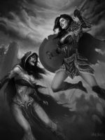 Female warrior vs female undead by Warmics