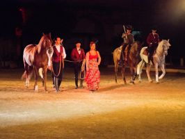 Spanish Horses, riders and flamenco dancer by dottys-friend