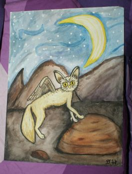 Watercolor Fennic fox / snow owl hybrid painting by WhimsicallyObsessed
