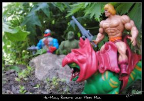 He-Man, Roboto and Moss Man by cipher