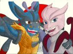 Mega-Lucario Ricky and Mega-Mewtwo X Monty by A-KTheLittleFairy