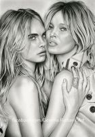 Cara Delevingne and Kate Moss - Pencil Drawing by GemmaFurbank