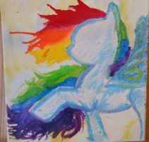 Rainbow pony - melted crayon by ArtisinmyHeart