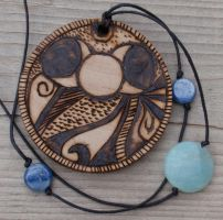 Wood Burned Pendant 15 by LilithLynx