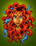Tentacle Hair Lady- red by RenieDraws