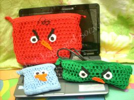 angry birds laptop case set by handfree