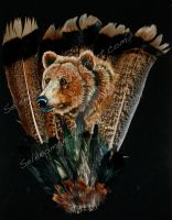 Grizzly Bear Painted Feathers by Illuminaiae