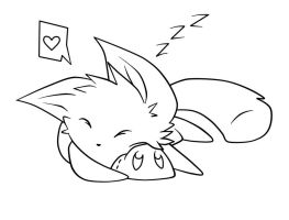 sleeping kitty lineart by Kaydolf