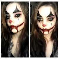 Little gory clown makeup for a contest. by Ruckt