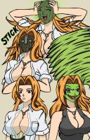 Rangiku Matsumoto becoming the mask - coloured by MaskedWander
