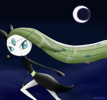 Meloetta in the night by LaahGata
