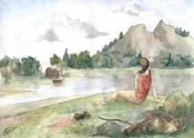 Katniss Everdeen and her lake 2 by Lullaby-For-Alice