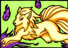 Ninetales ACEO by Foxy-Sketches