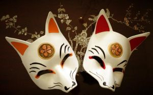 Smiling Kitsune Japanese Leather Fox Masks by b3designsllc