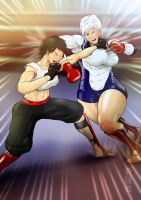 Shiina and SuLi  sparring 1 by saikyoDRAGON