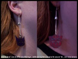 Autobot n Decepticon Earrings by miraibaby