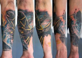 TRON and Ghost rider forearm in progress... by graynd