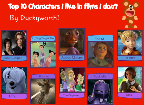 10 Characters I Like in Films I Don't by PurfectPrincessGirl