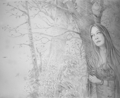 Sketch: Lady in the woods by woutart