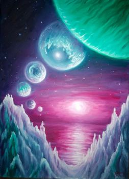 Trappist-1 planets oil on canvas painting by CORinAZONe