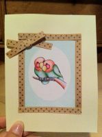 Lovebirds Card- Brown Polka by PinkBunnie