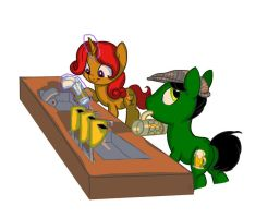 commission: bar ponies by Siansaar
