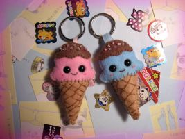 felt ice cream face keyring by kneazlegurl125