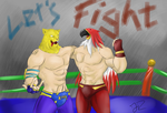 Commission - Fighting and Friends by DinoJ-13