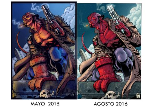 Hellboy inks by shoveke/ Color by Angel Rd by angelrd24