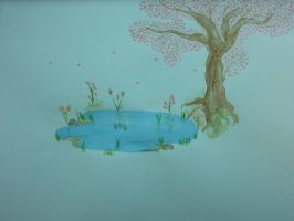 Watercolor pond.. by whitematterartist