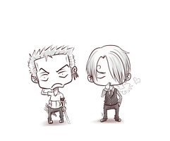 chibi Zoro and Sanji by Mugi-girl