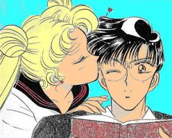 Usagi and Mamoru Colored by dustyandcindy