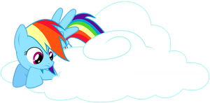 Rainbow Dash sitting on a cloud by tiwake