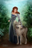 Sansa and Lady by CarrieBest
