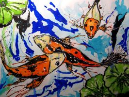 Koi fish in watercolour water by Onyana