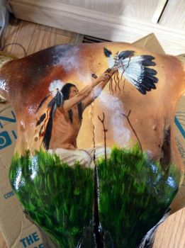 Cow Skull Painting by PurpleInsperation7
