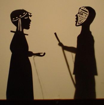 woman + warrior shadow puppets by puppethaze