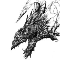 Dragon's Head Sketch by Titancross