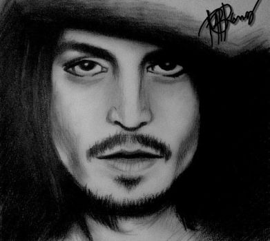 Johnny Depp with Charcoal by hellburned04